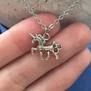 Prancing Unicorn Necklace Tibetan Silver 4for$20